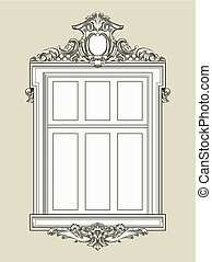 Vintage decorated window with gypsum relief. Vector ...