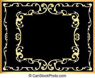 vintage decorative background frame with gold(en) pattern