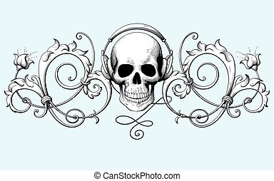 Vintage decorative element engraving with Baroque ornament pattern and skull with headphones