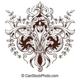 Vintage decorative element engraving with Baroque ornament...