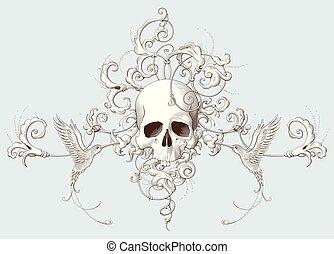 Vintage decorative element engraving with Baroque ornament, ...