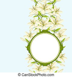 Vintage decorative frame with beautiful lilies. Retro design