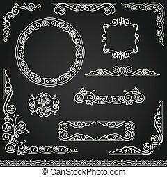 Vintage decorative frames design element set