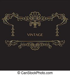 Vintage decorative golden frame with Linear floral antique swirl. Vector.