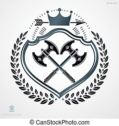 Vintage decorative heraldic vector emblem composed using two hatchets crossed and monarch crown