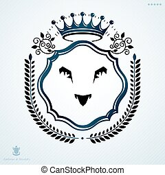 Vintage decorative heraldic vector emblem composed with lions head and imperial crown