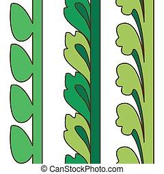 Vintage decorative set green floral pattern seamless vertical bo