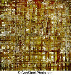 Vintage decorative texture with grunge design elements and different color patterns: yellow (beige); brown; gray; red (orange); white