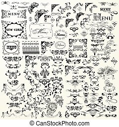 Vintage decorative vector elements set. Flourishes, swirls, frames, borders.eps