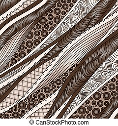 Vintage decorative waves background. Beautiful hand-drawn...