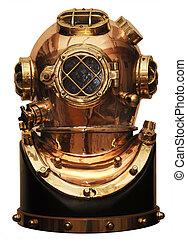 diving helmet - vintage deep sea diving helmet isolated on...