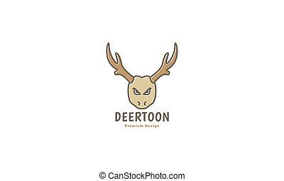 vintage deer head angry cartoon logo symbol icon vector graphic design illustration