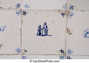 Vintage Delft blue tile with mother and daughter - Antique...