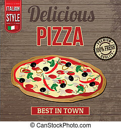 Vintage delicious pizza poster design on wooden background, ...