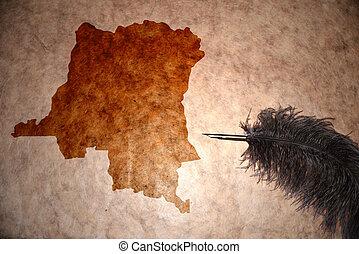 Vintage democratic republic of the congo map - democratic...