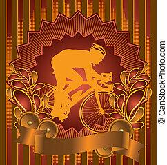 Vintage design bicyclist poster
