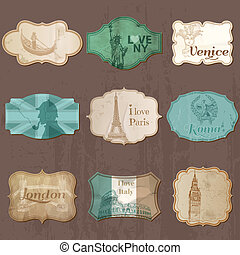 Vintage Design City Elements for Scrapbook - Old tags and frames in vector