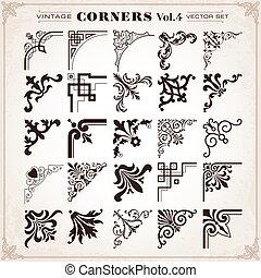 Vintage Design Elements Corners And Borders Set 4