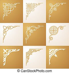 Vintage design elements Corners vector set