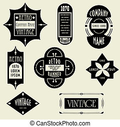 Vintage Design Elements. Labels In Retro And Vintage Style...