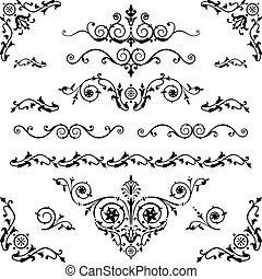 Vintage design elements - Vector set of floral decorative...