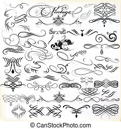 Vintage design elements vector set - Vector set of...
