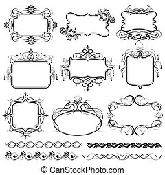 Vintage Design Frame - illustration of set of vintage design...