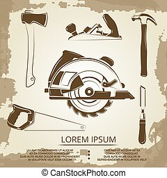 Vintage design of carpentry equipment collection - carpentry tools poster
