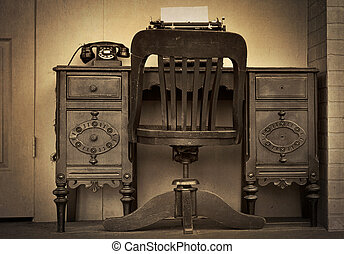 vintage desk with telephone - Old-fashioned desk with...