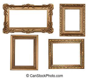 Vintage Detailed Gold Empty Picure Frames
