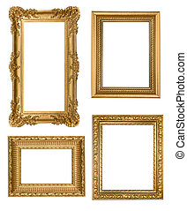 Vintage Detailed Gold Empty Picure Frames - Decorative Gold...