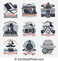 Vintage Detective Labels Set