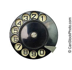 vintage dial disk - black vintage phone dial disk over white