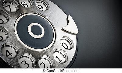 Vintage dial phone detail background. 3D illustration