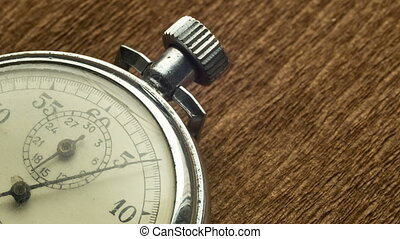 Vintage Dial White Stopwatch on the Brown Structural...