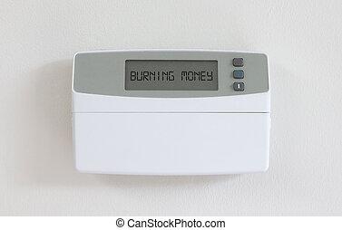 Vintage digital thermostat - Covert in dust - Burning money...