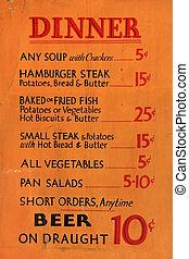 Vintage Diner Dinner Menu - Early 1900s dinner menu listing...