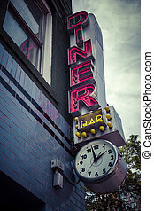 Vintage diner sign - Classic diner sign outside New York ...