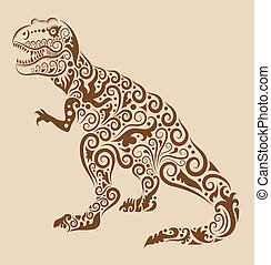 Vintage dinosaur ornament - Dinosaur drawing with floral ...