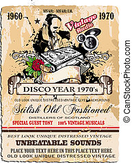 Vintage Disco Flyer with DJ shape and stylish distressed background