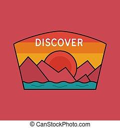 Vintage discover logo, adventure emblem design with mountains and river. Unusual line art retro style sticker. Unique colors. Stock vector