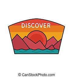 Vintage discover logo, adventure emblem design with mountains and river. Unusual line art retro style sticker. Unique colors. Stock vector isolated