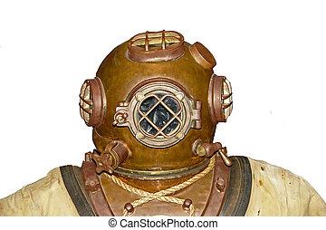 Vintage Diver Head - Old School Scuba Diver Head isolated...