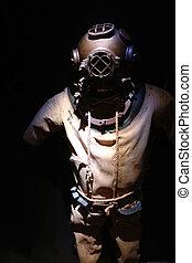 Vintage diver side lighting with black background