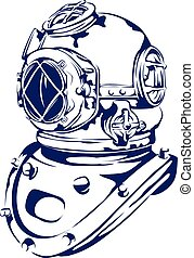 Vintage Diving Helmet - A vector-based graphic of a vintage...
