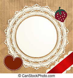 Vintage doily on the old paper background