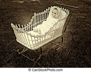 vintage doll and buggy