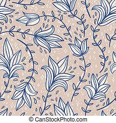 Vintage doodle flowers seamless pattern