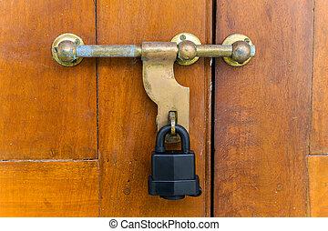 Vintage Door Handle on a old wooden doors