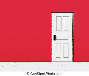 vintage door in a red wall